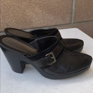 Cole Haan black leather suede mules shoes 9.5 B